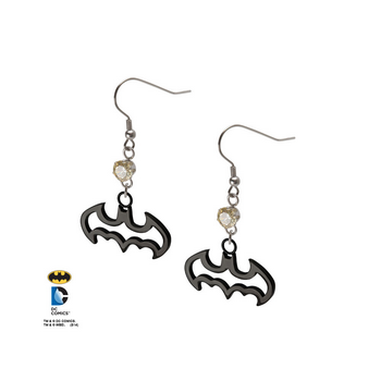 Batman Dangle Earrings with Gem